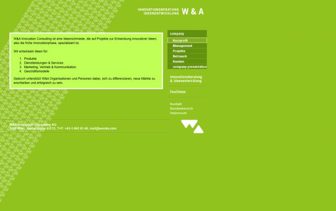 W&A - Hauptnavigation