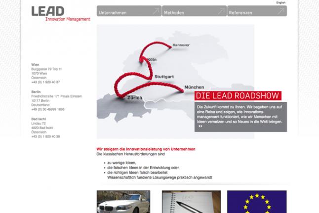 Screenshot der Startseite von LEAD Innovation Management