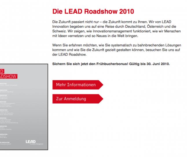 Screenshot der LEAD Roadshow