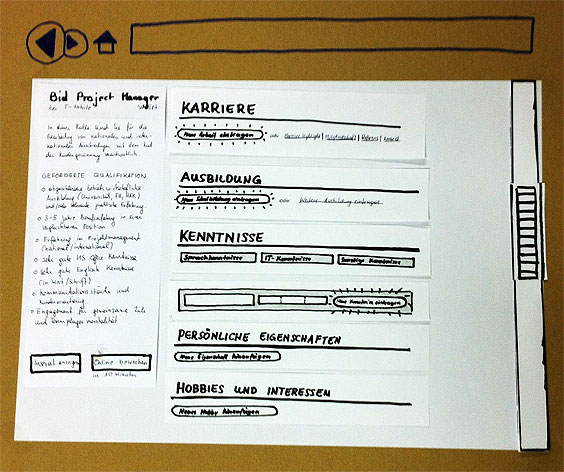Papier-Prototyp mit geschriebenem Text
