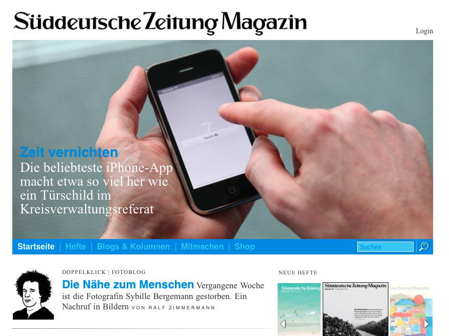 Startseite des Süddeutsche Zeitung Magazins mit Touch Me