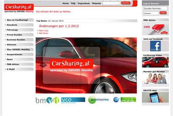 Die Startseite von www.carsharing.at